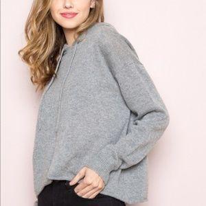 Brandy Melville Giovanna Grey Knit Hoodie